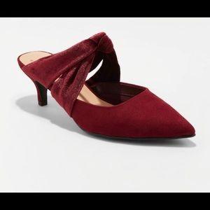 ✨A NEW DAY✨ Cranberry Kitten Heel Mules